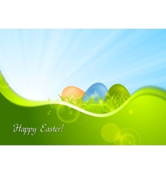 Easter background with wave and sunshine vector image vector image