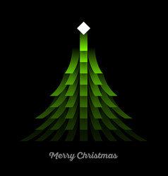 green christmas tree with lights garland vector image vector image