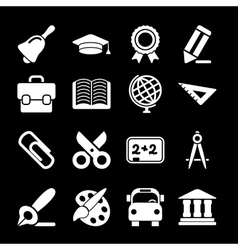 White Education Icons vector image vector image
