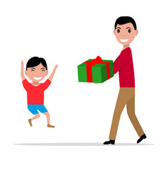 cartoon father giving her son a present vector image vector image