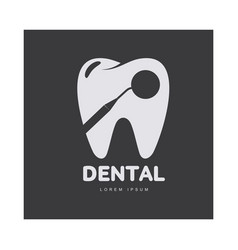 dental care logo template with mirror silhouette vector image