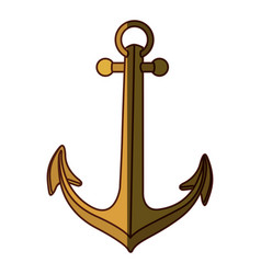 gold silhouette of anchor icon design with middle vector image vector image