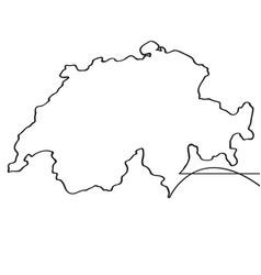 map of switzerland continous line vector image