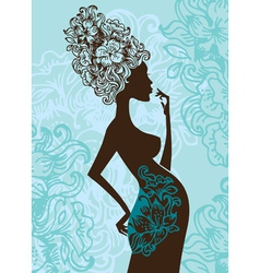 silhouette of pregnant woman in flowers vector image vector image