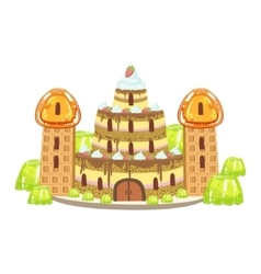 Birthday Cake Castle With Waffle Towers Fantasy vector image