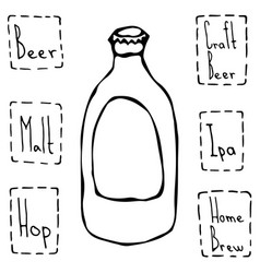 classic beer bottle hand drawn vector image vector image