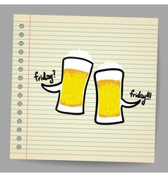 Doodle bubbles with beer vector image