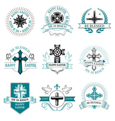 Easter greeting element crucifix cross icon vector