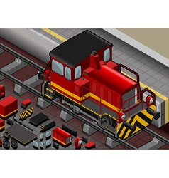 Isometric Red Train in Front View vector image