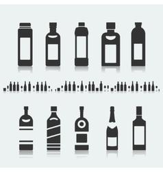 Set of symbols bottle alcohol vector image