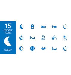 15 sleep icons vector