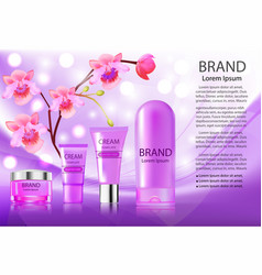 advertising cosmetics creams and shampoo pink vector image