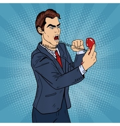 Angry Business Man Screaming in Phone Pop Art vector
