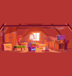 Attic room with old things garret on rowindow vector