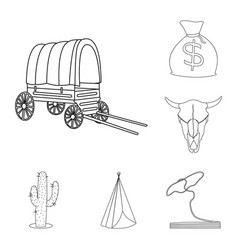 Attributes of the wild west outline icons in set vector