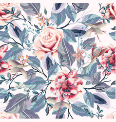 beautiful seamless vintage pattern pink roses vector image
