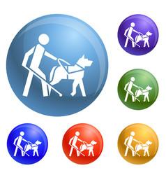 blind boy dog guide icons set vector image