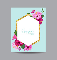 Blooming spring and summer tropical floral frame vector