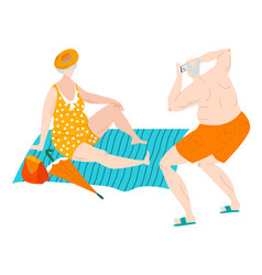 body positive fat eldery man and woman in vector image