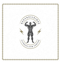 bodybuilder man logo or badge vector image