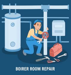 Boiler room repair vector