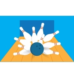 Bowling ball getting a strike with pins sent vector