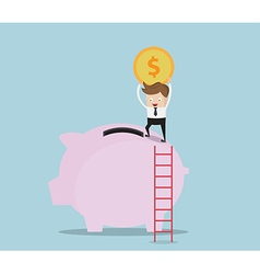 Businessman Use Ladder For Saving Money vector image