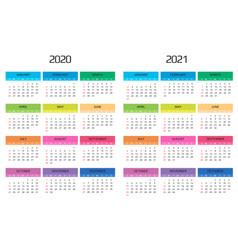 Calendar 2020 and 2021 template 12 months vector