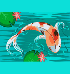 Carp fish in water with flowers top view vector
