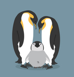 Cartoon happy penguins family vector