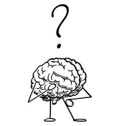 Cartoon human brain character thinking vector