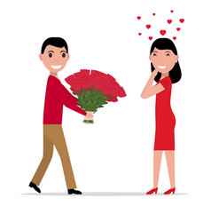 Cartoon man gives flowers to a woman vector