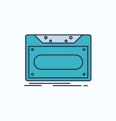 cassette demo record tape record flat icon green vector image