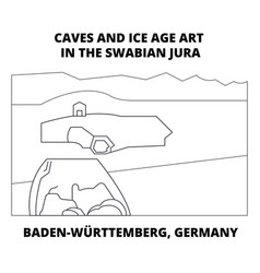 Caves baden-wurttemberg germany line icon vector