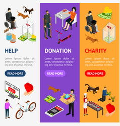 charity donation funding banner vecrtical set 3d vector image