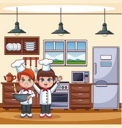 chef kids at kitchen vector image