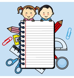 Children with a notebook with space for writing vector