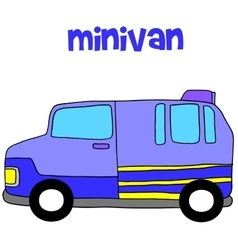 Collection of minivan transportation art vector