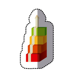 Color cubes with arrow up icon vector