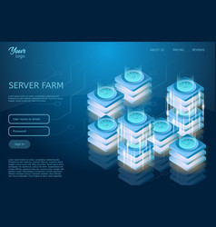 Concept of server room rack web hosting and data vector