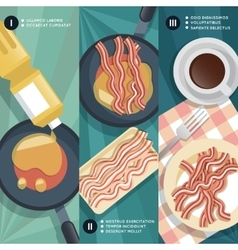 Cooking instruction frying bacon vector