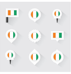 Cote divoire flag and pins for infographic and vector