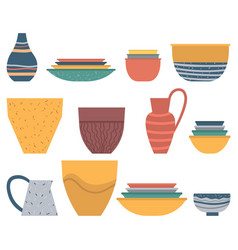 Earthenware crock plate and bowl set dish vector