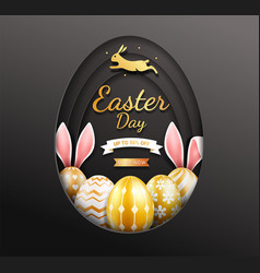 easter day banners template eggs gold vector image