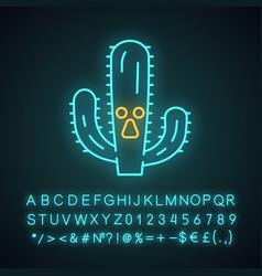 Elephant cactus cute kawaii neon light character vector