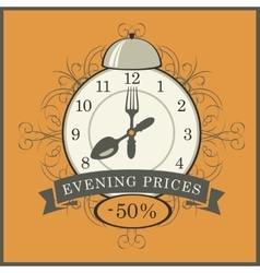 Evening prices in a restaurant vector
