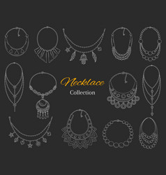 Fashionable necklaces collection hand vector
