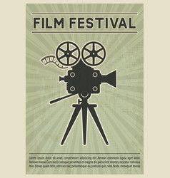 film festival poster retro movie camera black vector image