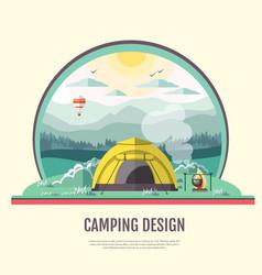 Flat design retro landscape and camping tent vector