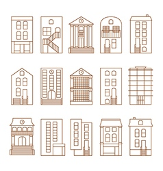flat thin line city buildings set vector image